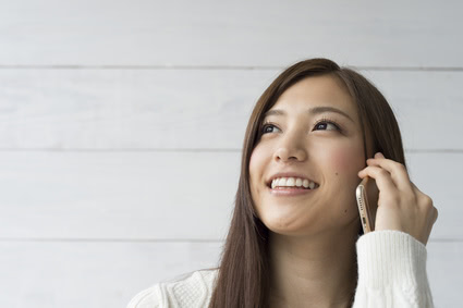 Women are talking in the latest smartphone